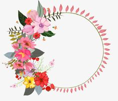 Coronas de flores de colores, La Pintura De La Mano, Ilustración PNG y PSD