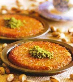 Fistikli Kunefe (Künefe with Pistachionuts) Recipe  http://www.yemek-tarifi.info/english/recipe.php?recipeid=114