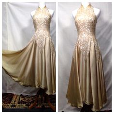 1940s Champagne Satin Sequin Godet Backless Gown // by Guvnors, $155.00