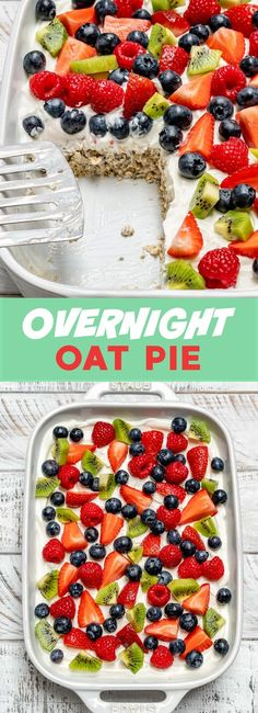 This Overnight Oat Pie is a Creative Way to Eat Clean with a Crowd! This Overnight Oat Pie is a Creative Way to Eat Clean with a Crowd! Clean Eating Desserts, Clean Eating Breakfast, Clean Eating Diet, Perfect Breakfast, Cheap Eating, Healthy Eating Apps, Healthy Food, Healthy Cooking, Tapas