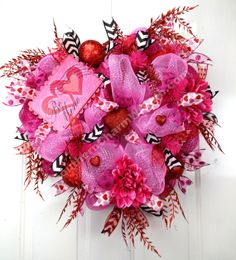 Deco Mesh BE MINE VALENTINE Wreath Pink by SouthernCharmWreaths, $104.97