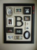 Photo board idea---Use each g-kid's initial with pics at progressive ages.