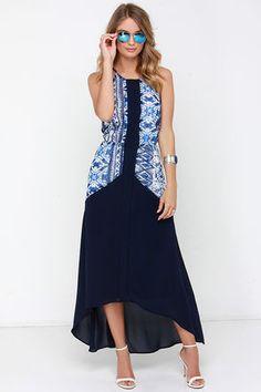 Chic Navy Blue Print Dress - High-Low Dress - Halter Dress - $111.00