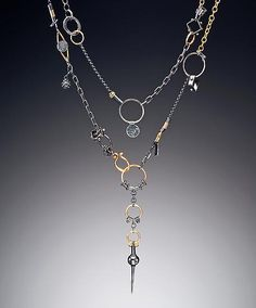 "Necklace | Suzanne Q Evon.  ""Black and gold Avalon"".  Oxidized sterling silver with 18k gold vermeil, 24k gold, 22k bi-metal"