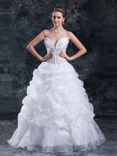 Latest Wedding Dresses from TopWedding. Sweetheart Embroidered Organza over Satin Ball Gown with Pick Up Skirt $236.00