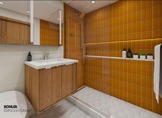 Kohler Bathroom, Pool Bathroom, Budget Bathroom, Small Bathroom, Bathroom Interior Design, Bathroom Designs, Digital Showers, Open Showers, Vanity Design
