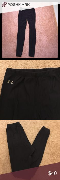 Under Armour running leggings Under Armour black running leggings, size S. there is a little pilling on the glutes area but otherwise these are in good shape. Moving to Florida so I do not need them for cold weather running anymore! Under Armour Pants Leggings