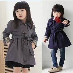 NEW Children Clothing Cute Girls Pure Color Elegant Coat Outerwear AGES2 7Y | eBay