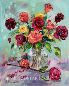 Colorful Rose Art, giclee print of impressionist roses, modern impressionist rose, giclee of painting