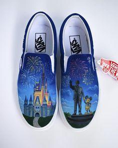 2e154f3c48 Disney Custom Painted Vans Disney Castle with Walt Disney and