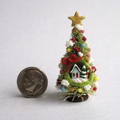 Handmade Miniature FAIRY CHRISTMAS TREE WITH COTTAGE DIORAMA - OOAK by C. Rohal #CRohal