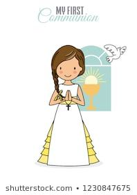 Illustration about My first communion girl. Pretty girl with communion dress. Illustration of religion, illustration, pretty - 131694456 Communion Dresses, Love Craft, First Communion, Doll Patterns, Special Day, Disney Characters, Fictional Characters, Religion, Scrap