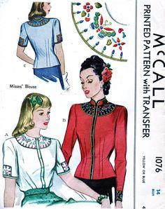 ONBESNEDEN * 1940s Vintage McCall patroon 1076 - GLAMOUREUZE Set van Blouses & vest met borduurwerk Transfers / / het formaat van 14