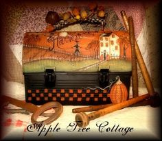 hand painted, vintage lunchbox...beautiful scene!!!