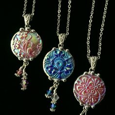 Dishfunctional Designs: Bohemian Czech Glass Buttons Made Into Beautiful Necklace Pendants