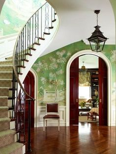 Wallpaper In The Entry Foyer: Yay or Nay? The mural in this entrance foyer continues right on up the stairs Hand Painted Wallpaper, Of Wallpaper, Gracie Wallpaper, Wallpaper Staircase, Zuber Wallpaper, Trendy Wallpaper, Interior Exterior, Interior Design, Interior Doors
