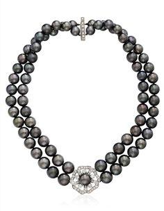 MIKIMOTO GRAY CULTURED PEARL AND DIAMOND NECKLACE