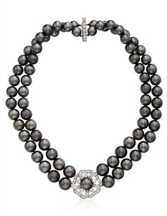 MIKIMOTO GRAY CULTURED PEARL AND DIAMOND NECKLACE
