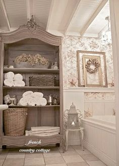 BATHROOM U2013 Find An Old Armoire Or China Cabinet And Make It Into A Bath  Towel Closet. So Cute In A French Country Cottage Bath, An Armoire Without  The Doors ...