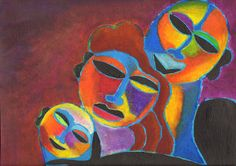 FAMILY CLOSENESS - ooak - 17 x 13ins (43 x 32cms) There is no stronger bond than the family, and here it is shown in vibrant warm colours. via Etsy