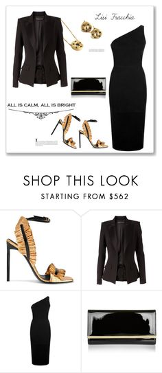 """""""Black"""" by bv-b ❤ liked on Polyvore featuring Yves Saint Laurent, Alexandre Vauthier, Balmain and Jimmy Choo"""