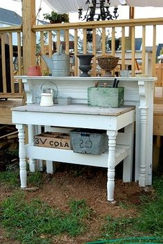 interesting way to make a potting bench from an old mantel and table. Lilacs and Longhorns: Potting Bench Inspiration
