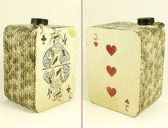 Vintage 50s Large Novelty Ceramic Deck of Playing Cards Drinks Decanter