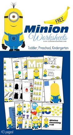 Be sure to grab these FREE Minion Worksheets! There are 43 fun pages in this printable pack from 123 Homeschool 4 me.    Need more freeb