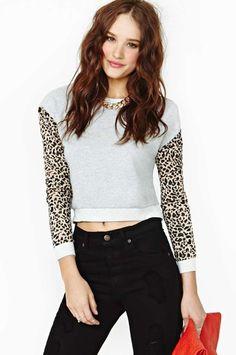 Huntingbird Meow Crop Sweatshirt from Nasty Gal on shop.CatalogSpree.com, your personal digital mall.