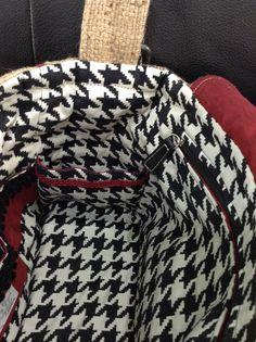 Inside flat pocket Alabama Crimson Tide burlap purse