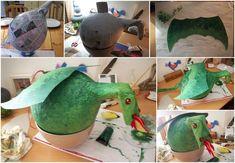 Piñata dragon faite maison en papier mâché, peinture acrylique, feutrine.