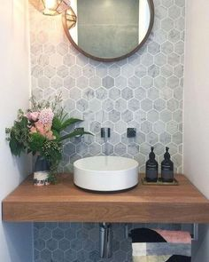 49 Simply Black And White Tile Bathroom Decor Ideas Guest Bathrooms, Bathroom Renos, Modern Bathroom, Master Bathroom, Rental Bathroom, Bathroom Renovations, Small Bathroom Ideas, Sinks For Small Bathrooms, Small Toilet Decor