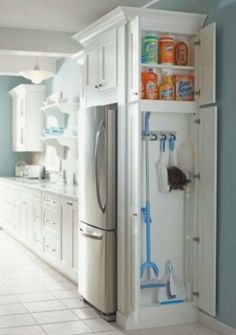 quick and easy access for cleaning supplies in the kitchen!