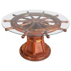 Nautical Ships Wheel Coffee Table Best Picture For nautical decor centerpieces For Your Taste You are looking for something, and it is going to tell you exactly what you are looking for, and you didn' Nautical Theme Decor, Nautical Design, Nautical Home, Nautical Coffee Table, Coffee Table Redo, Home Decor Furniture, Modern Furniture, Wood Shop Projects, Quirky Home Decor