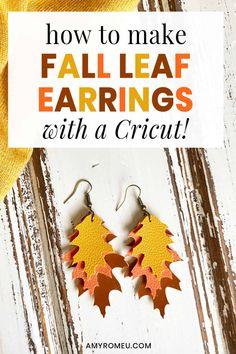 Cricut Craft Room, Cricut Vinyl, Leaf Earrings, Diy Earrings, Earrings Handmade, Diy Leather Earrings, Leather Jewelry, Cricut Tutorials, Cricut Ideas