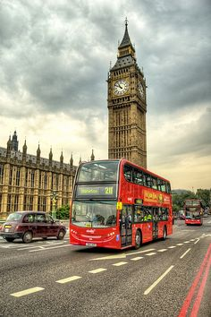 Red bus & Westminster Palace.