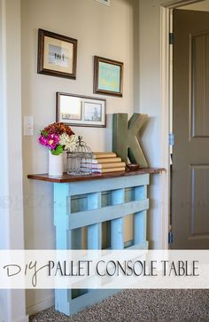 Not the pallet - but with Chunky legs, I really like this idea for hallway to 1/2 ba under heritage wall.