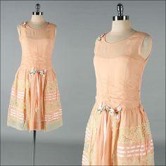 Vintage 1920s Dress . Peach Silk . Millinery Trim . 3140. $345.00, via Etsy.