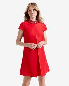 Embellished collar tunic dress - Brick Red   Dresses   Ted Baker NEU