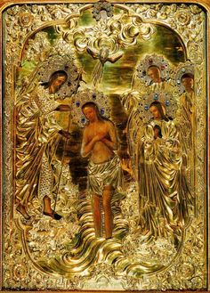 Russian Icon of the Theophany, or Baptism of Christ in the Jordan. Praying The Rosary, Rosary Catholic, Baptism Of Christ, Jesus Christ, Religious Icons, Religious Art, Christian Church, Christian Faith, Russian Icons