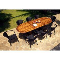 salon de jardin table teck 240 cm et 8 fauteuils en résine noire