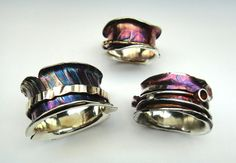 titanium look. (not interested in the tutorial, I like the look of the completed ring) Spinner Rings Tutorial от littlerock на Etsy
