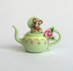 Miniature  Mouse in Teapot Teapot OOAK by C. Rohal by ArtisticSpirit