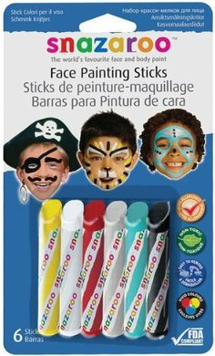 Snazaroo 6 Face Paint Sticks - Boys Set by WINSOR & NEWTON. $5.80. 766416496027. Brand New Item / Unopened Product. Reeves. 1160602. Face paint from Snazaroo is non-toxic, Hypo-Allergenic and FDA Compliant for the most delicate skin.  These painting sticks have ans angled tip to draw either broad or thin lines.  The pre-cut wrappers peel off into small bands for easy clean-up.  This set of 6 colors is geared towards pirates and robots and includes: yellow, white, red, silve...
