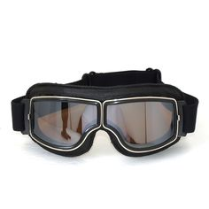 De alta qualidade Da Marca New Moto Cruiser Óculos Moldura preta de Couro da motocicleta óculos de proteção Piloto Do Vintage Óculos de Lente Clara