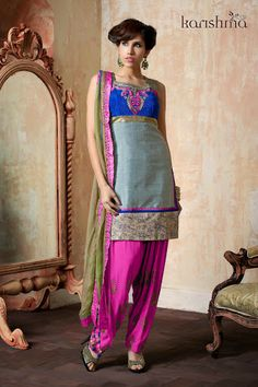 Readymade  Grey Fuchia Patiala Salwar Suit shop at andaazcollectionscanada