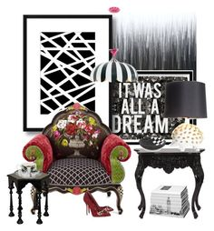 """""""Black and White and the McKenzie Childs Chair..."""" by kimberlyd-2 ❤ liked on Polyvore featuring interior, interiors, interior design, home, home decor, interior decorating, Oliver Gal Artist Co., MacKenzie-Childs, Howard Elliott and Noir Trading"""