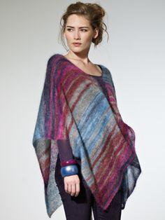 Naisen neulottu poncho viitta Megan, Rowan Kidsilk Haze Stripe väri Cool, 4 kerää, ohje suomeksi