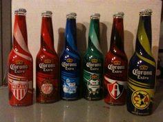 Limited Edition Corona Extra Beer Soccer 2012. Necaxa, Toluca, Puebla, Santos, Atlas & America. Front View.
