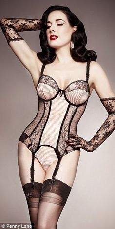 Old-world glamour: Ms Von Teese drew inspiration from her vast collection of vintage lingerie, primarily hailing from the Forties and Fiftie...